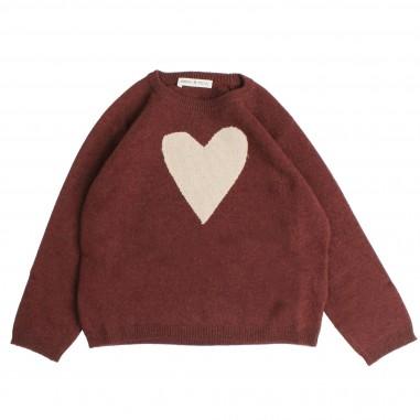 Babe&Tess Maglia bordeaux in lana con cuore per bambine mc11-mc-098-009