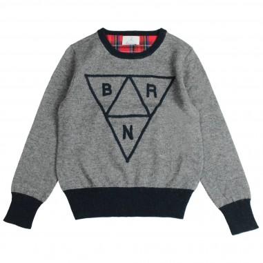 Berna Kids Maglia grigia in lana con logo per bambini 8034MA-Grigio