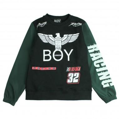Boy London Felpa logo nera e verde per bambini GFBL183236J