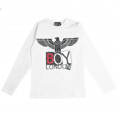 Boy London t-shirt bianca jersey con logo per bambini TSBL183220J-BI
