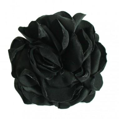 Caffè d'Orzo Spilla fiore nera in seta per bambina EVA-28-Nero