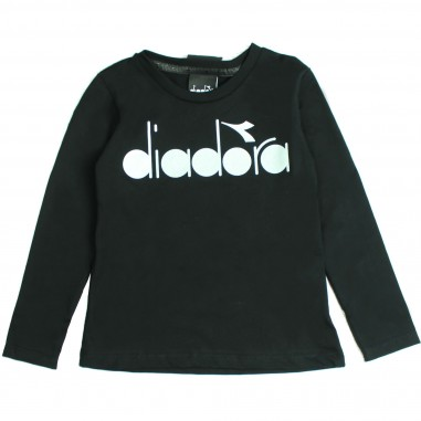 Diadora T-Shirt Bambina Nera con logo diadora kids 016126-110