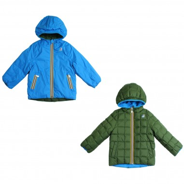 K-Way Piumino nylon reversibile verde & azzurro per bambini by K-way kids K001K40-996