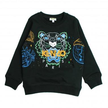 Kenzo Felpa nera logo tiger per bambini Kenzo Kids KM15548-29