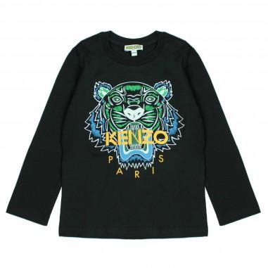Kenzo T-shirt nera logo tigre per bambini Kenzo Kids KM10538-29