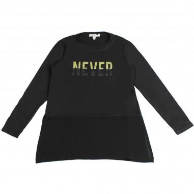 Kocca T-shirt nera con scritta per bambina EVAMOR-nero-28-koc