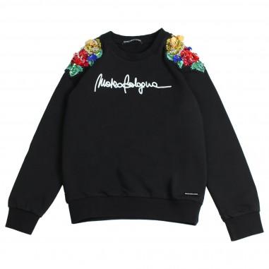 Marco Bologna Felpa nera applicazioni fiori per bambina 2341F0004-28