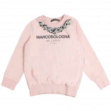 Marco Bologna Felpa rosa con logo & collana pietre bambina 2341F0126-28