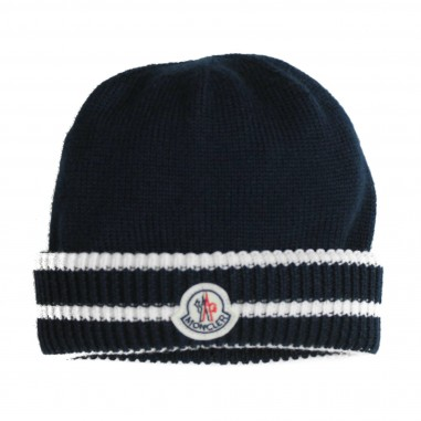 Moncler Wool blue Logo baby hat by Moncler Kids 19921105969BY-778 592e7c92496