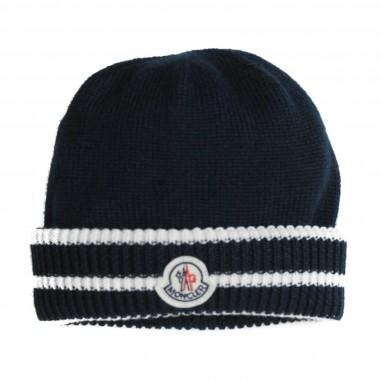 Moncler Wool blue Logo baby hat by Moncler Kids 19921105969BY-778 4e876e58dd8