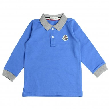 Moncler polo manica lunga azzurra per bambini by Moncler Kids 1830775084633-711