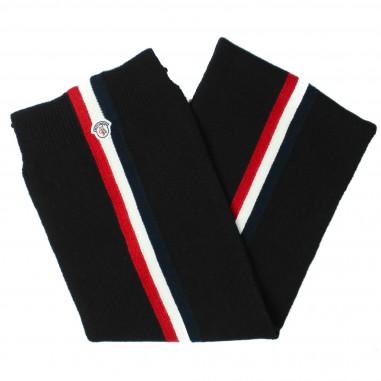 Moncler sciarpa nera tricolore logo by Moncler Kids 4000280504S08