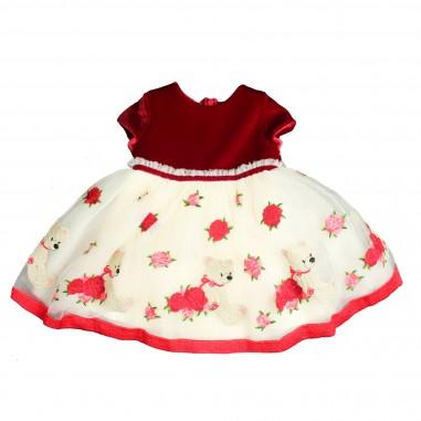 Monnalisa abito ricamo rose orsetti per neonata by Monnalisa 312916