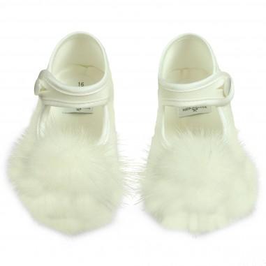 Monnalisa Baby girls cream Pompon ballet flat by Monnalisa 392016white
