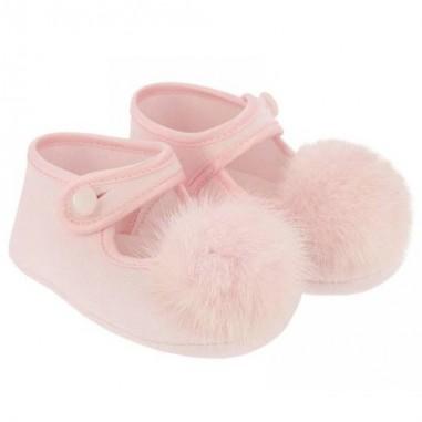 Monnalisa Baby girls pink Pompon ballet flat by Monnalisa 392016pink