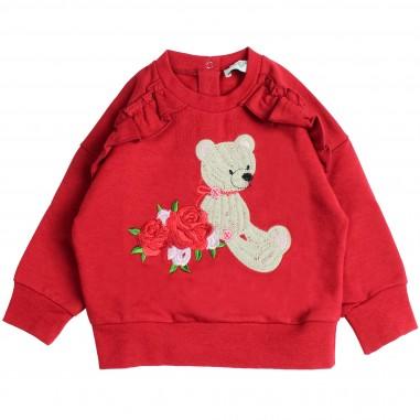 Monnalisa felpa rossa orsetto rouches per neonata by Monnalisa 392611RA