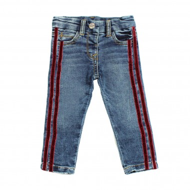 Monnalisa jeans blu con bande per bambina by Monnalisa 392404RA
