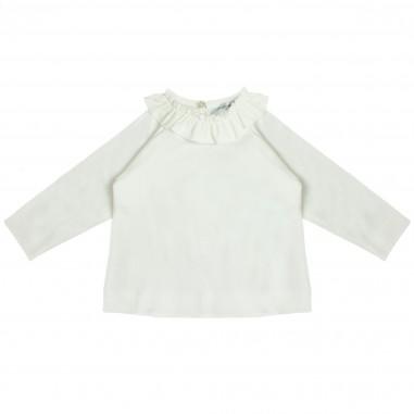Monnalisa T-shirt panna cotone con gala per neonata by Monnalisa 312622