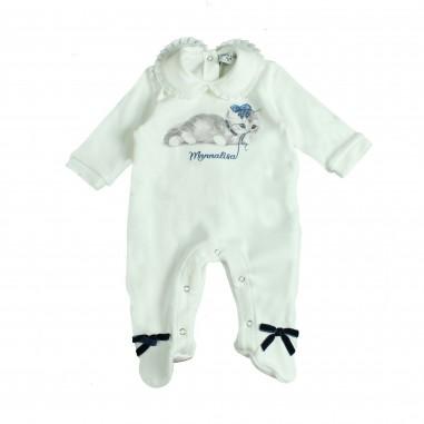 Monnalisa tutina caldo cotone stampa gattino per neonata by Monnalisa 352209PE