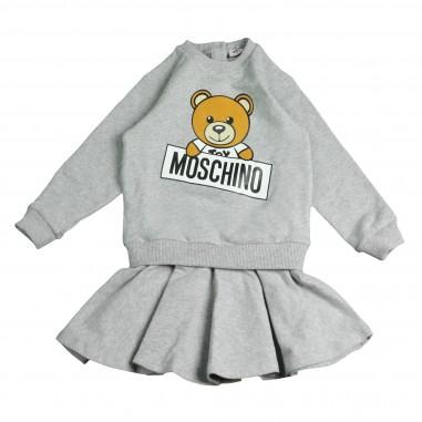 Moschino Kids Abito grigio in felpa con logo orsetto per bambina by Moschino Kids MDY00DLDA03-GRIG