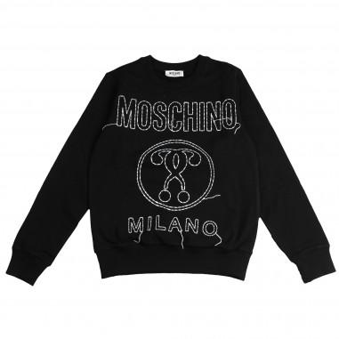 Moschino Kids Felpa nera Milano per bambini by Moschino Kids HVF01QLDA02