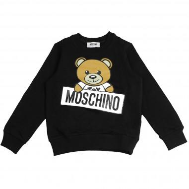 Moschino Kids Felpa orsetto nera per bambini by Moschino Kids HTF01QLDA03