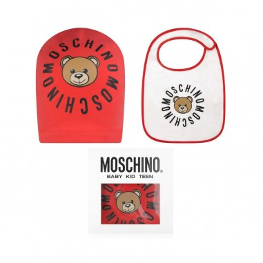 Moschino Kids Baby red bib + hat set by Moschino Kids mmy00x-50109