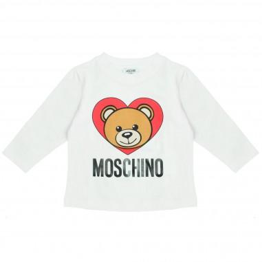 Moschino Kids T-shirt cuore panna per neonati by Moschino Kids M6M01LLBA04