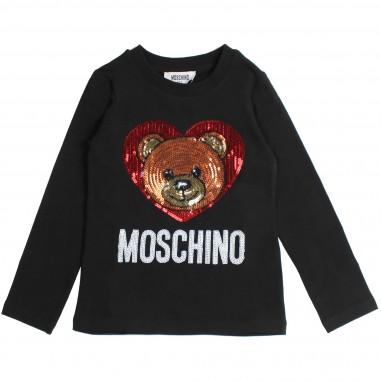 Moschino Kids T-shirt nera con cuore e orsetto pailettes per bambina by Moschino Kids HEM02ALBA07