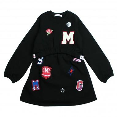 MSGM Abito nero in felpa con applicazioni per bambina by MSGM Kids 016290-110