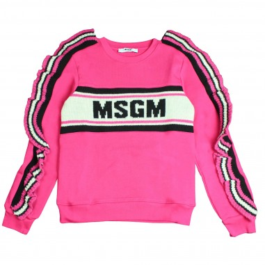 MSGM Felpa fucsia logo e rouches per bambina by MSGM Kids 016376-044