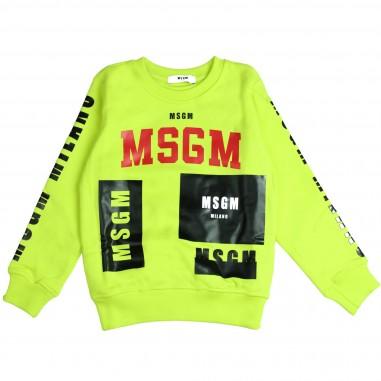 MSGM Felpa gialla girocollo per bambino by MSGM Kids 015830-023