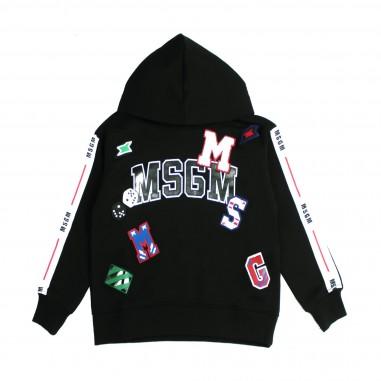 MSGM Felpa nera con patches per bambine by MSGM Kids 016510-110
