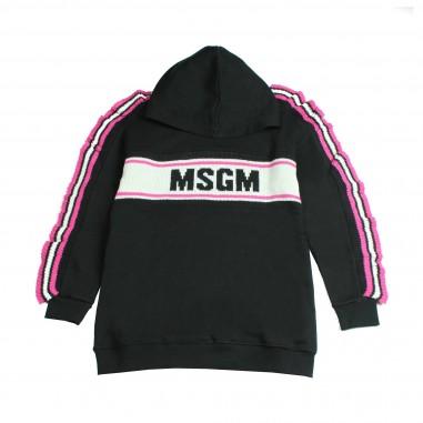 MSGM Maxi Felpa nera logo e bande per bambine by MSGM Kids 015847-110