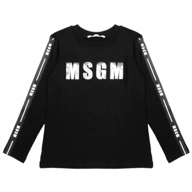 MSGM T-shirt nera con bande per bambina by MSGM Kids 016296-110