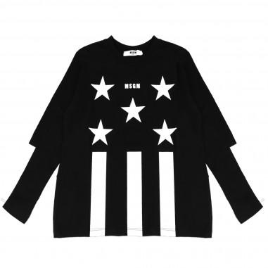 MSGM T-shirt nera con stelle per bambina by MSGM Kids 015809-110