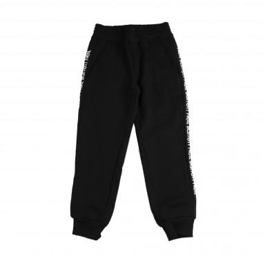 Neil Barrett Kids Pantalone felpa nero bande loghi per bambino by Neil Barrett Kids 016192-110