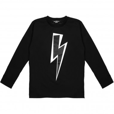 Neil Barrett Kids T-shirt nera in cotone con stampa  per bambino by Neil Barrett Kids 016207-110
