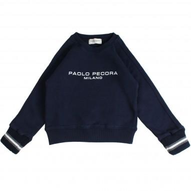 Paolo Pecora Felpa girocollo blu in cotone per bambino by Paolo Pecora Kids PP1500-BLU