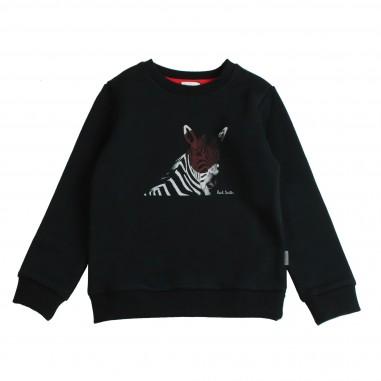 Paul Smith Junior Felpa nera in cotone con stampa per bambini by Paul Smith Junior 5M15602-02-SHADY