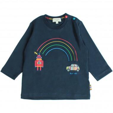 Paul Smith Junior T-shirt blu stampa arcobaleno per bambini by Paul Smith Junior 5M10531-492-SANTO