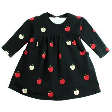 Piccola Ludo Abito felpa nero stampa mele per bambina by Piccola Ludo roxietes0267111