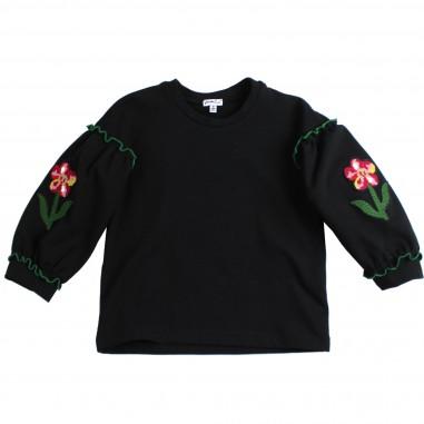 Piccola Ludo Felpa nera ricamo fiori per bambina by Piccola Ludo magalifioretes0251099