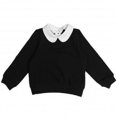 Piccola Ludo Felpa nera, colletto & spilla per bambina by Piccola Ludo zairates0251099
