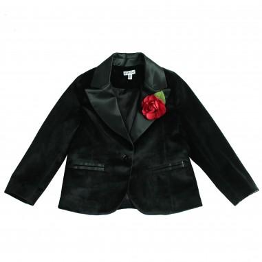 Piccola Ludo Giacca nera in velluto liscio per bambina by Piccola Ludo fabiennetes028143344