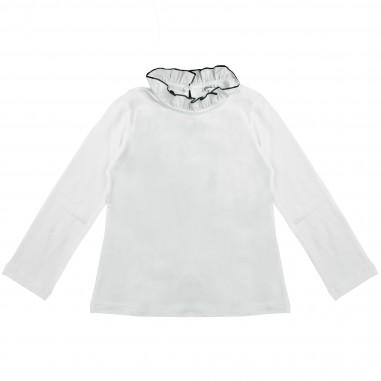 Piccola Ludo T-shirt bianca collo rouches per bambina by Piccola Ludo demites0259pp2