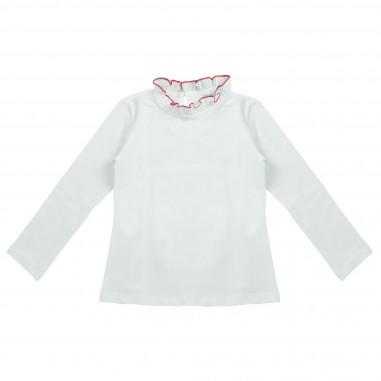 Piccola Ludo T-shirt bianca collo rouches per bambina by Piccola Ludo demites0259pp4