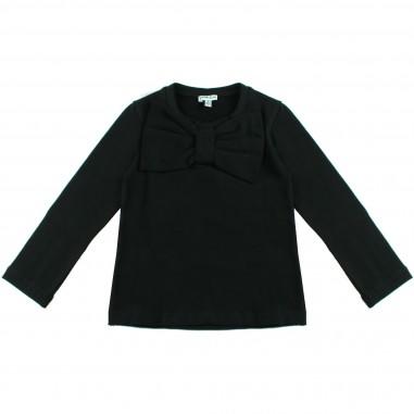 Piccola Ludo T-shirt jersey nera con fiocco per bambina by Piccola Ludo devates0259099