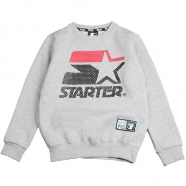 Starter Felpa grigia in cotone con logo per bambini by Starter Kids MFST8304J-grigio