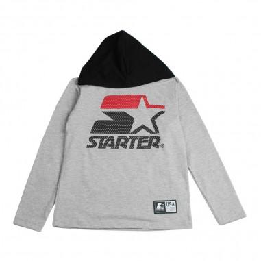 Starter T-shirt grigia jersey con cappuccio e logo per bambini by Starter Kids TSST8304J